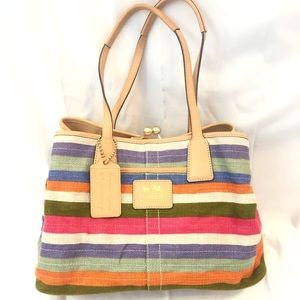 Coach Bright Stripes Textile Handbag Like New